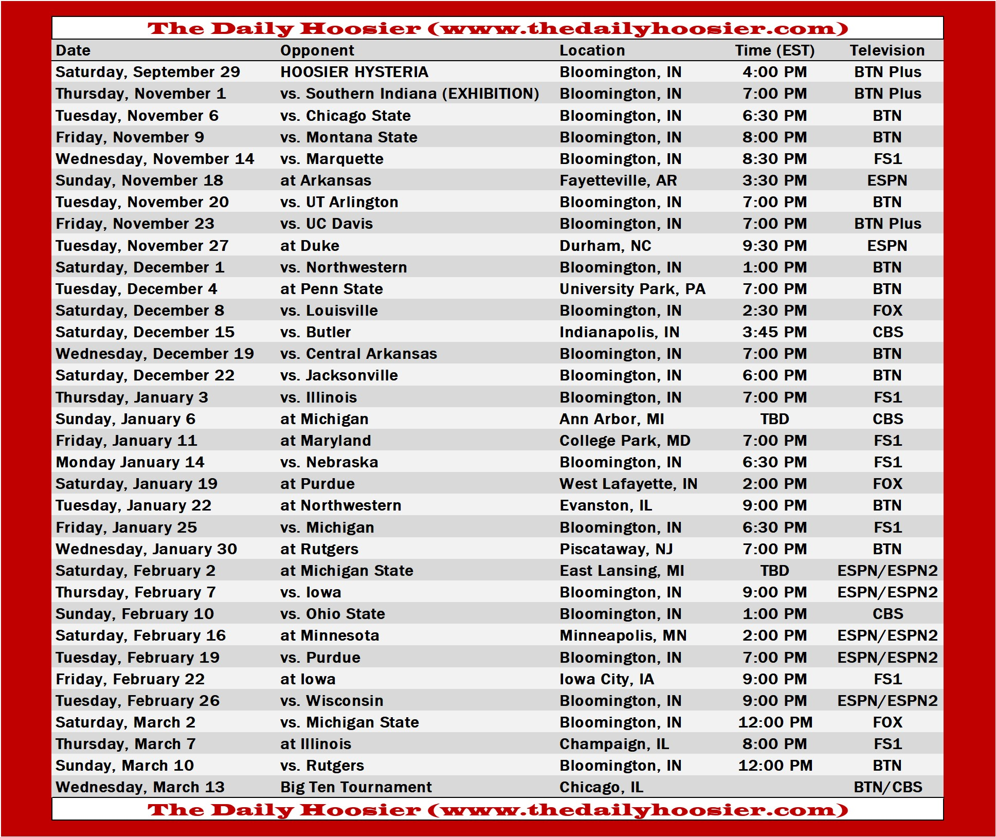 Indiana Basketball 2018 19 Schedule Tv Tip Times And
