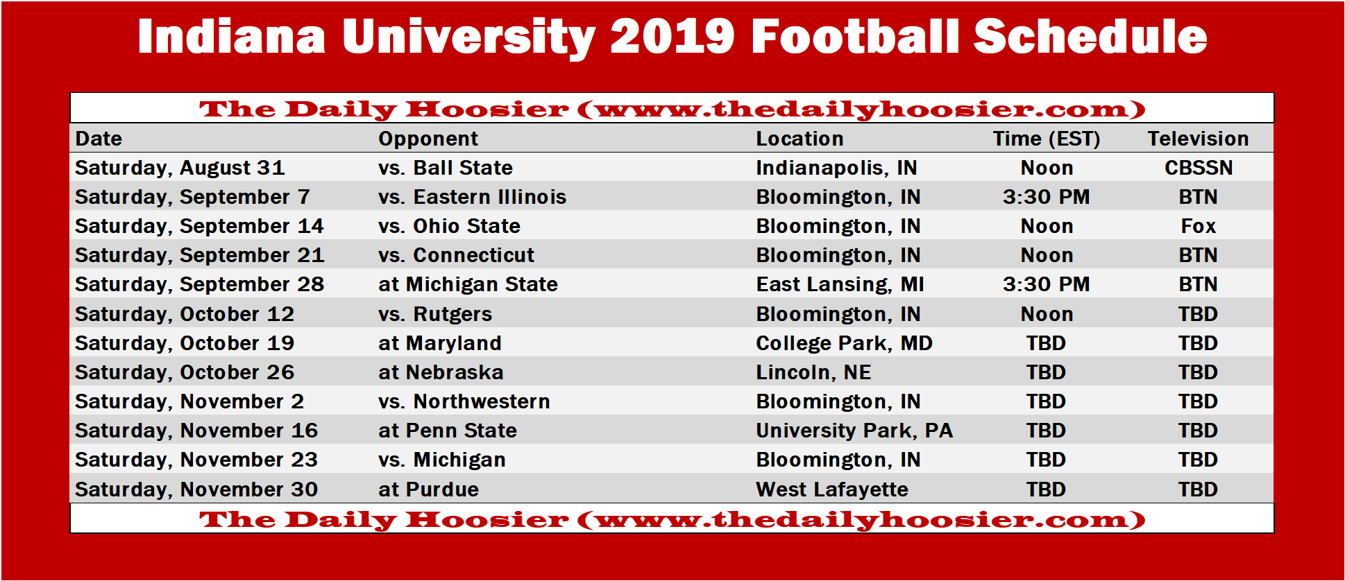Iu Home Football Schedule 2020.Indiana Football The 2019 Schedule Printable Version