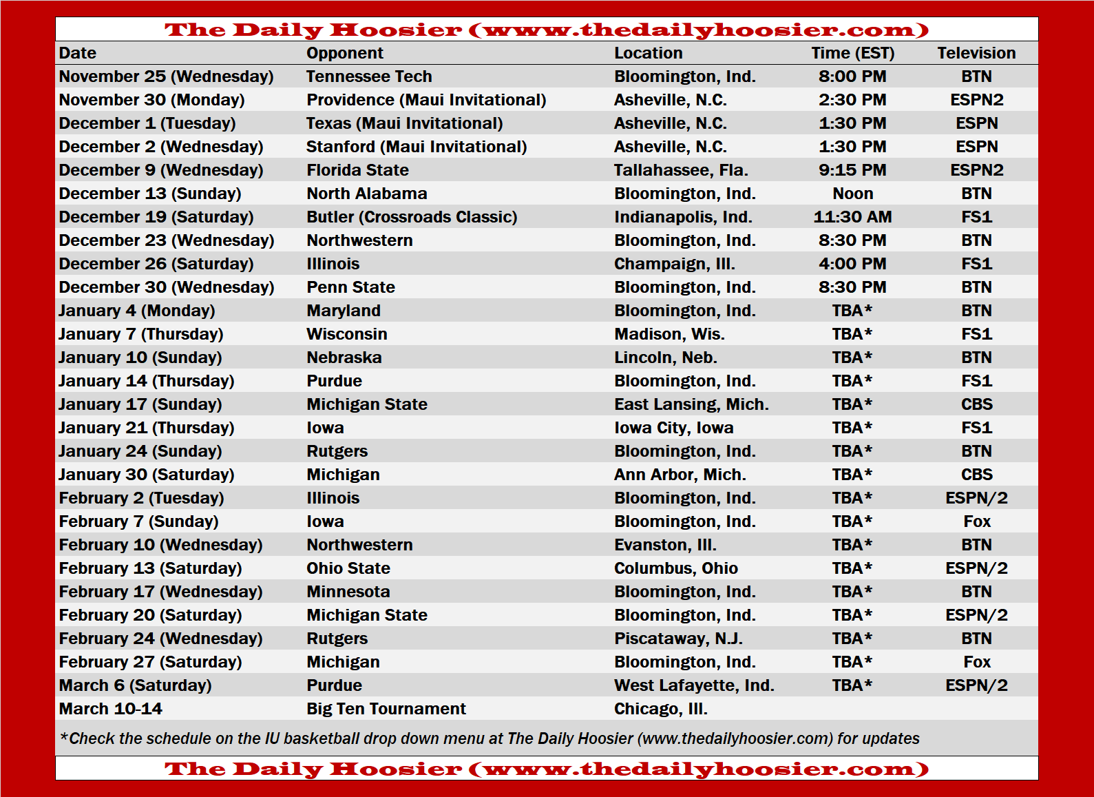 Iu Calendar Fall 2022.Indiana Basketball 2020 21 Schedule Page And Printable Version The Daily Hoosier